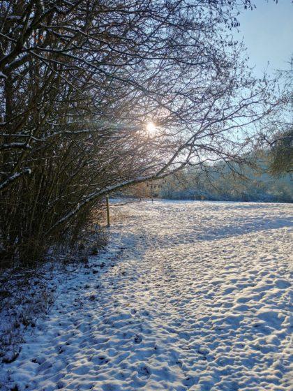Es wird eine 14-km-Wanderung durch den Schnee