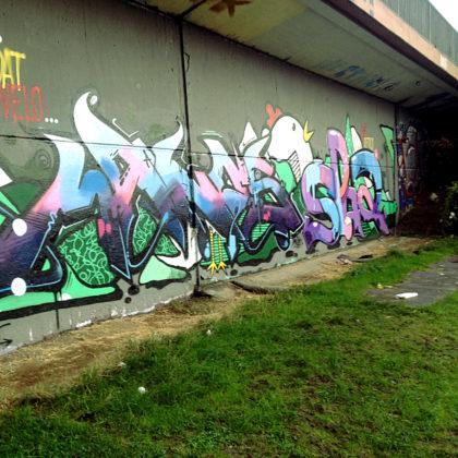 Die Graffitis an den Mauern am Saarufer wechseln ständig