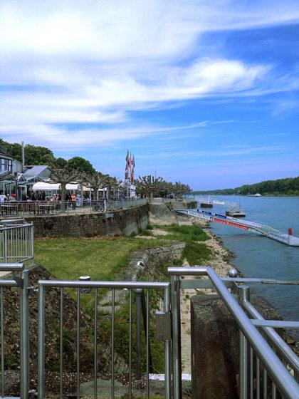 Am Rhein mit Blick auf die Rheinpromenade