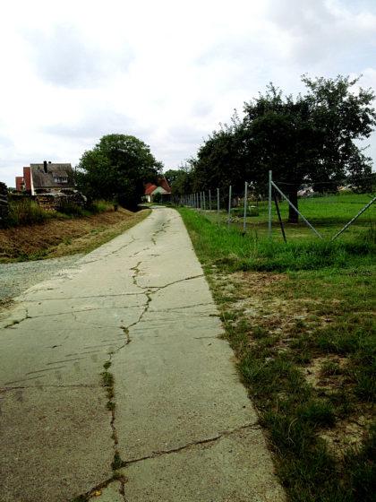 Auf einem Asphaltweg voller Risse nach Fuchsstadt hinein