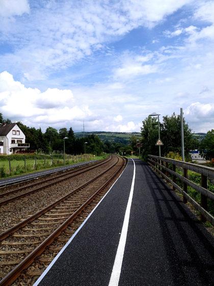 Bahnsteig Hochstetten-Dhaun, der Ausgangspunkt der Tour