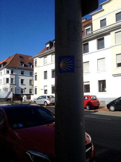 Kreuzung Feldstraße, hier stoße ich auf die Nordroute des Jakobsweges