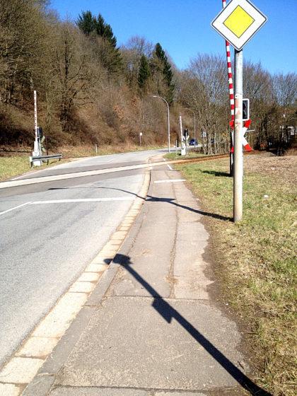 Mittlerweile befinde ich mich auf dem Saarland-Rundweg und stapfe an einer grauen Landstraße entlang