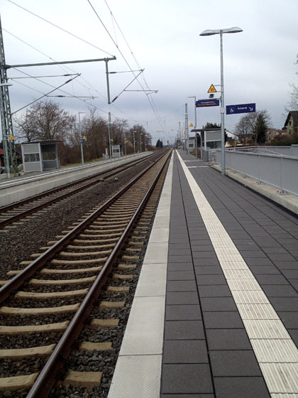 Alsheim, Bahnsteig, Abschluss der Tour