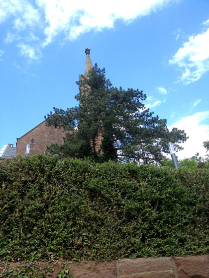 Blick auf die Evangel. Kirche in Dilsberg