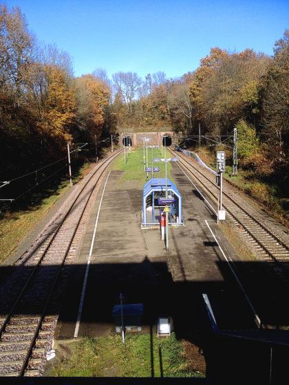 Der Bahnsteig in Merchweiler, Endpunkt der Wanderung