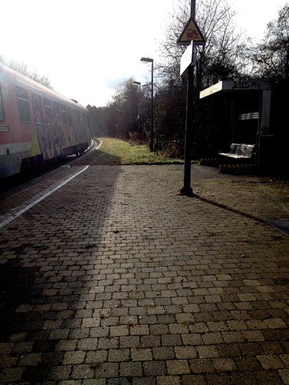Start in Niedaltdorf, der letzten Station der Niedtalbahn