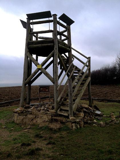 Der hölzerne Aussichtsturm auf dem Hirnberg