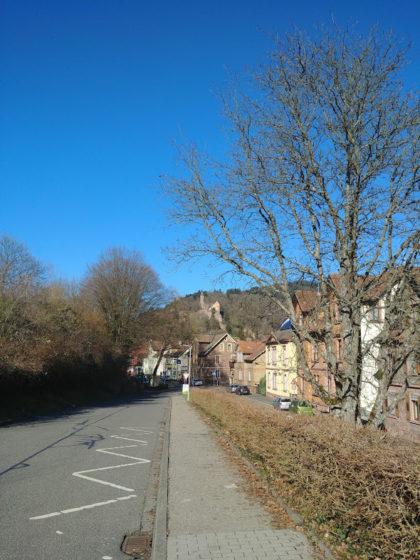 Hirschhorn, ein paar Meter vom Bahnsteig weg. In der Ferne sieht man schon das Schloss