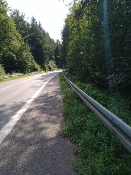 Wieder an dieser Landstraße vorüber, an der ich schon am Mittag entlanggelaufen bin