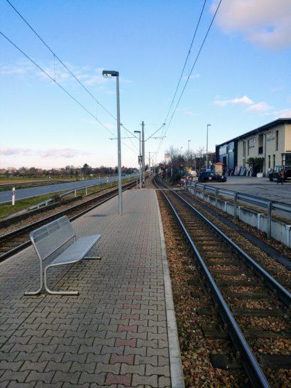 Straßenbahnhaltestelle Schriesheim Süd, unser Startpunkt