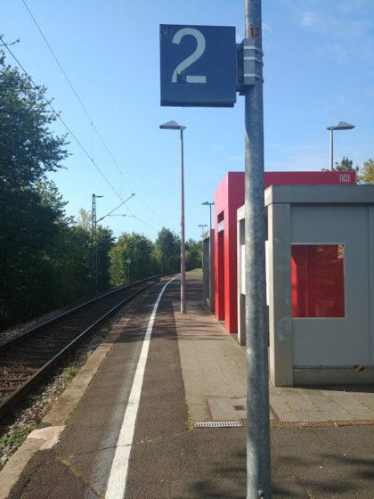 Start auf dem Bahnsteig in Wiebelskirchen