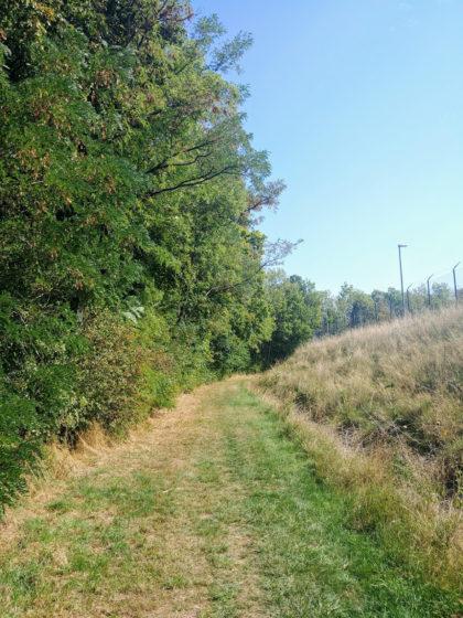 Ein paar hundert Meter führt der Weg an einem Firmengelände entlang