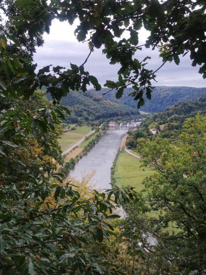Blick auf den Neckar und die Staustufe Rockenau