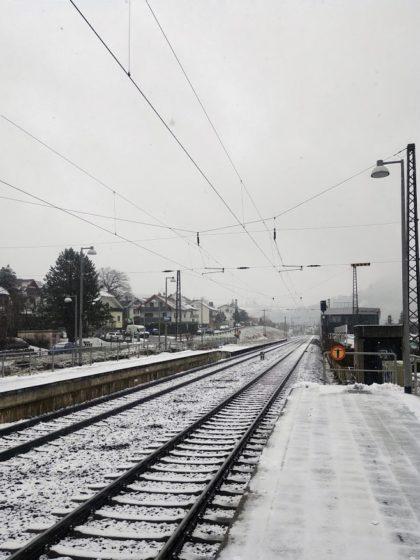 Bahnsteig in Neckarsteinach