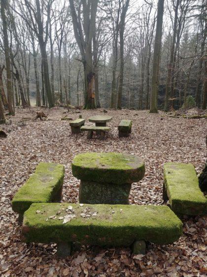 Ein Steinerner Tisch, der wohl als Rastplatz für Jagdgesellschaften diente