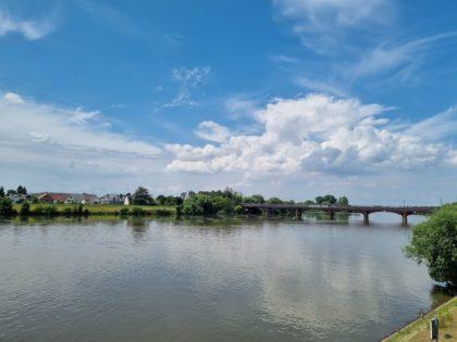 Blick vom Ladenburger Ufer über den Neckar